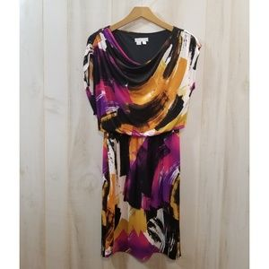 London Times Black Purple Print Sleeveless Dress 4